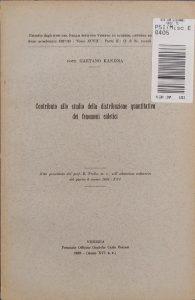 Copertina del primo articolo di Gaetano Kanizsa sul suo lavoro di Tesi di Laurea (1938)