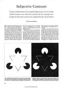 """Articolo sui """"Contorni soggettivi"""" apparso sulla prestigiosa rivista """"Scientific American"""" (1976)"""