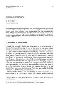 Articolo scientifico in cui kanizsa sostiene la tesi di una netta distinzione tra percezione ed esperienza passata (1985)