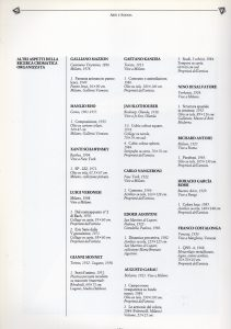 Extract of the XLII Venice Biennale catalog with the list of some artists, including the work exhibited by Kanizsa (1986)